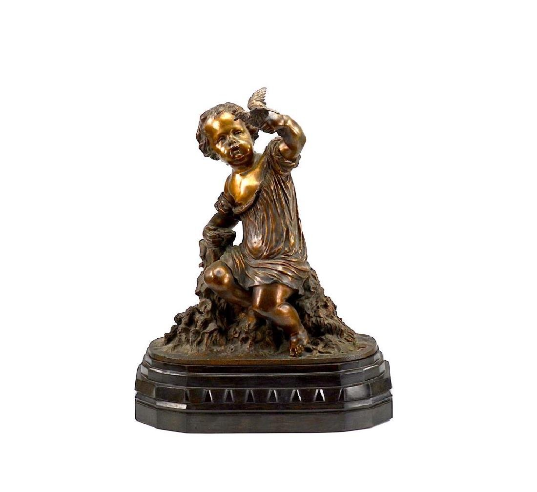 FRENCH BRONZE SCULPTURE OF A CHILD WITH BIRD