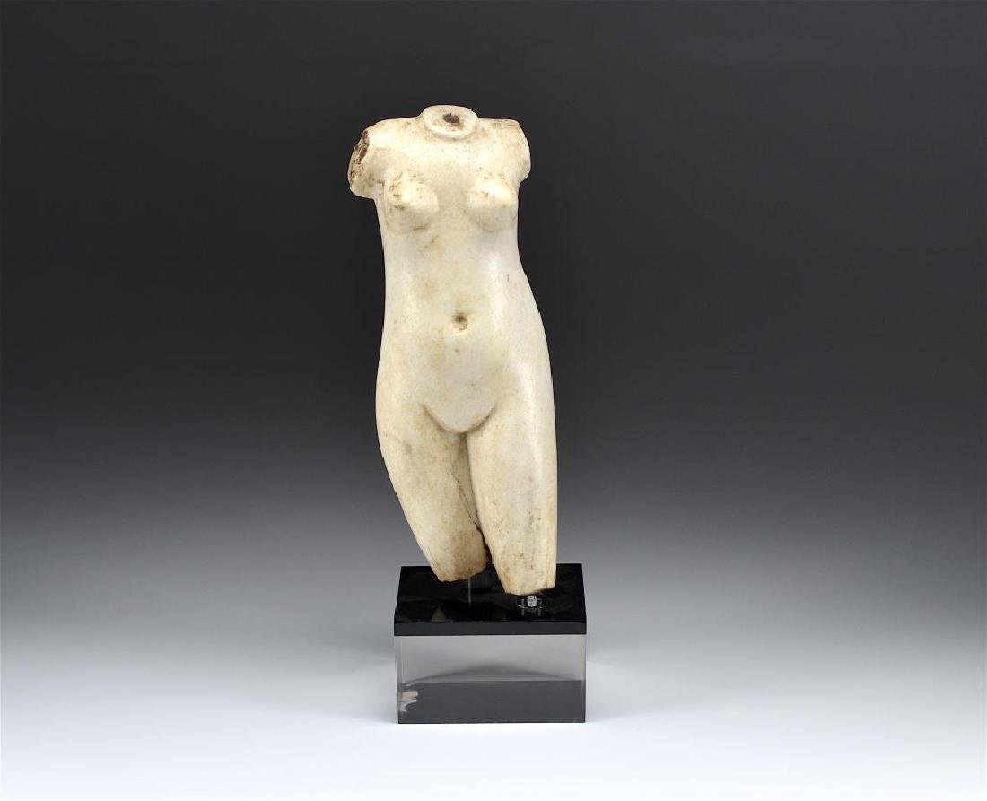 WHITE MARBLE TORSO OF VENUS