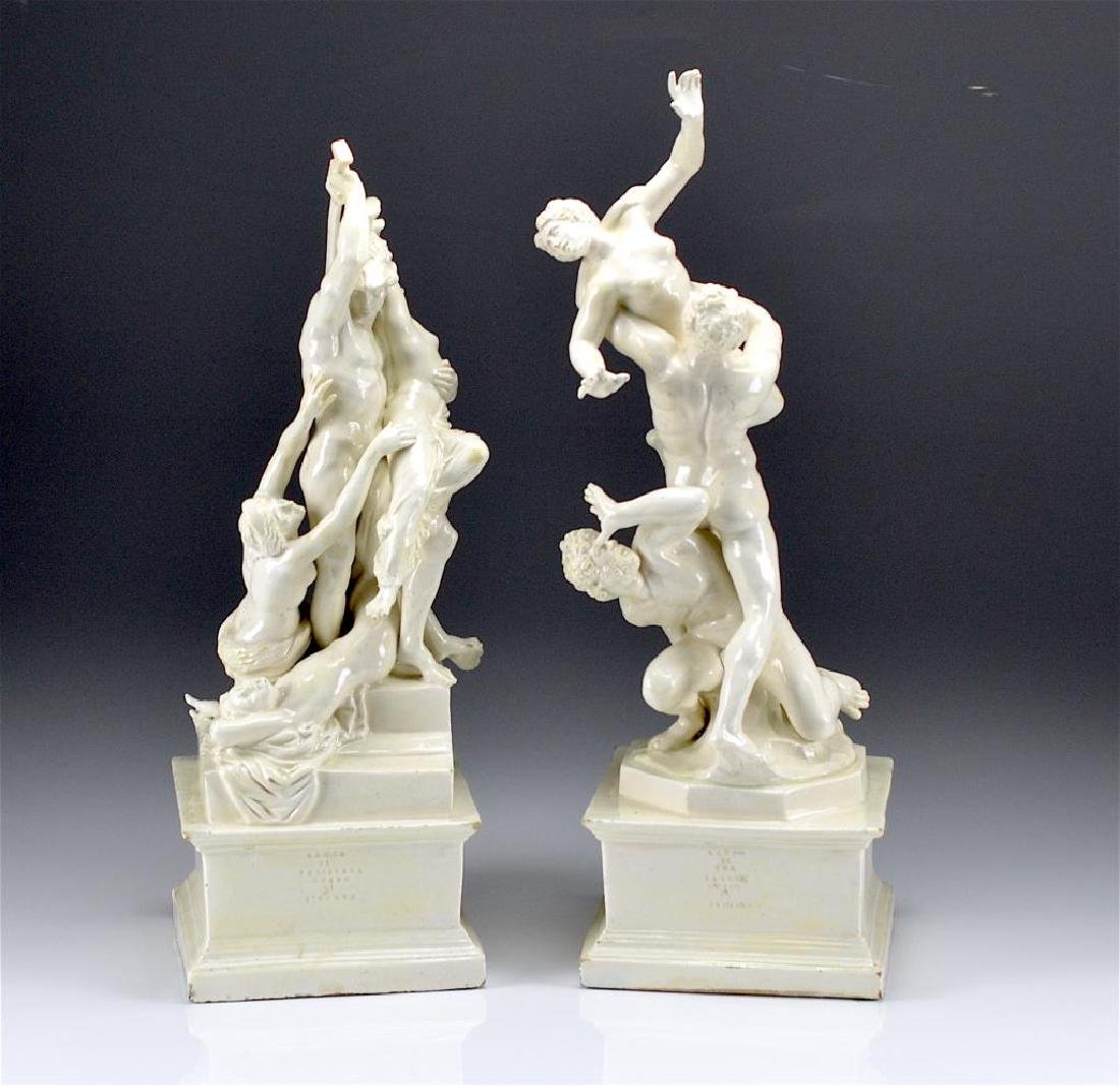 PAIR OF ITALIAN BLANC DE CHINE POTTERY FIGURES