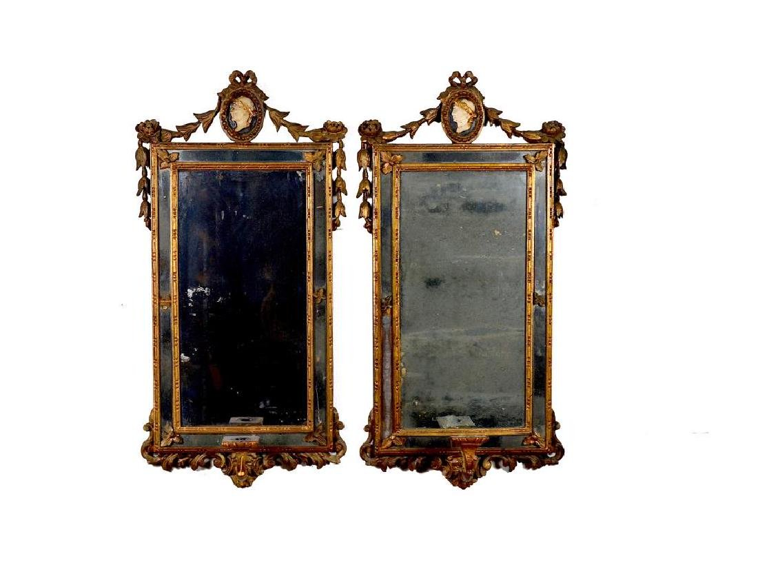 PAIR OF ANTIQUE ENGLISH GILT FRAMED MIRRORS