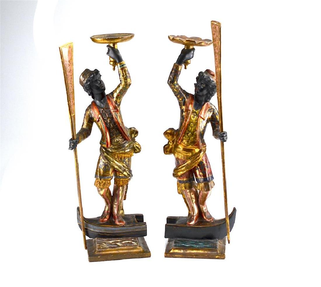 PAIR OF CARVED & POLYCHROME PAINTED BLACKAMOORES