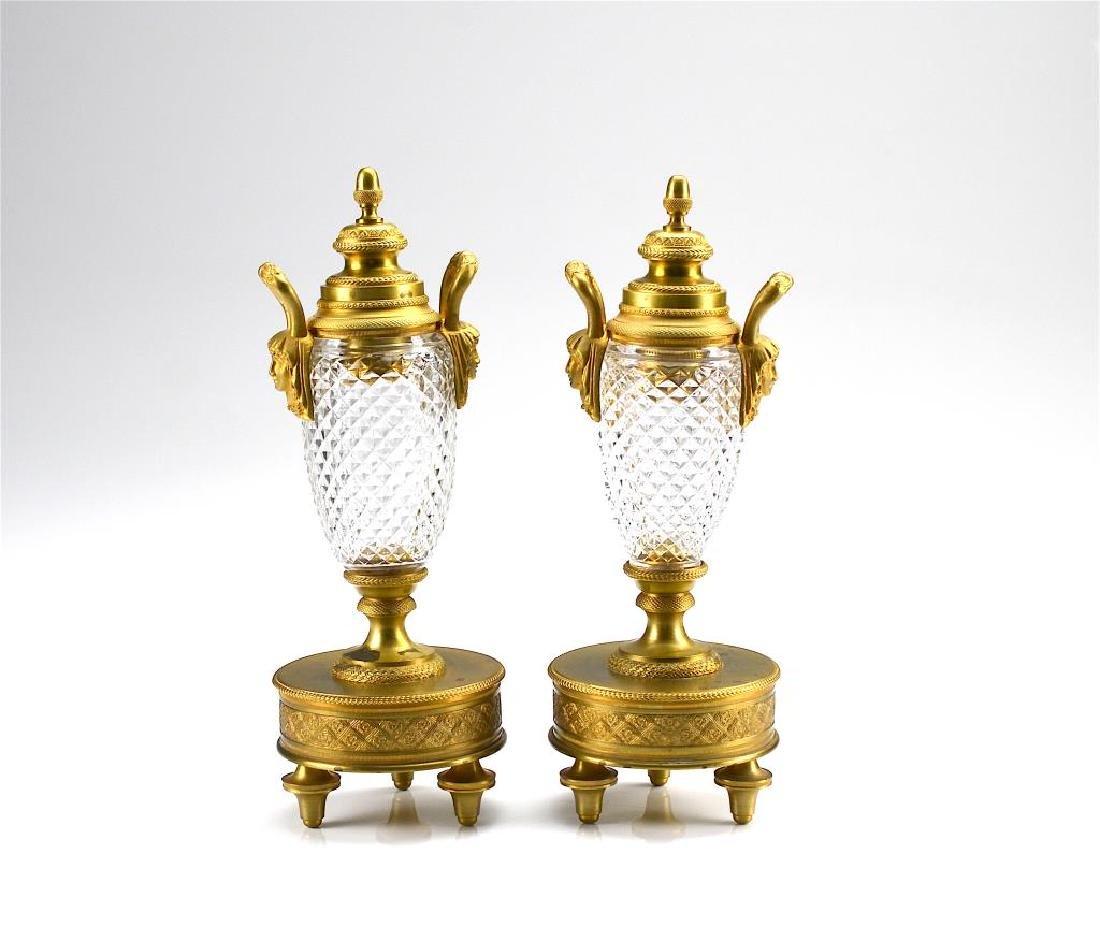PAIR OF AUSTRIAN GLASS & BRONZE URNS
