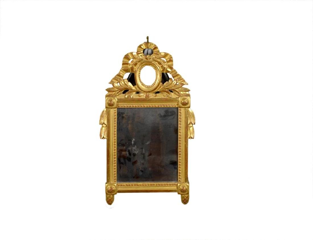 ANTIQUE FRENCH CARVED GILTWOOD MIRROR