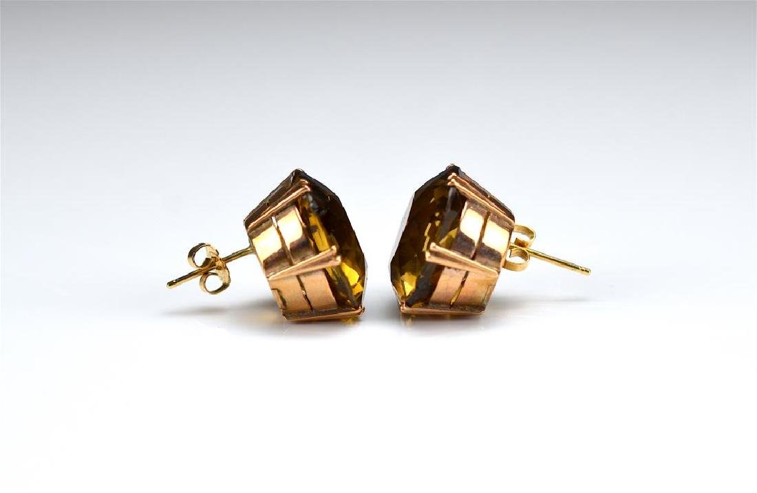 Pair of vintage gold and quartz earrings - 2