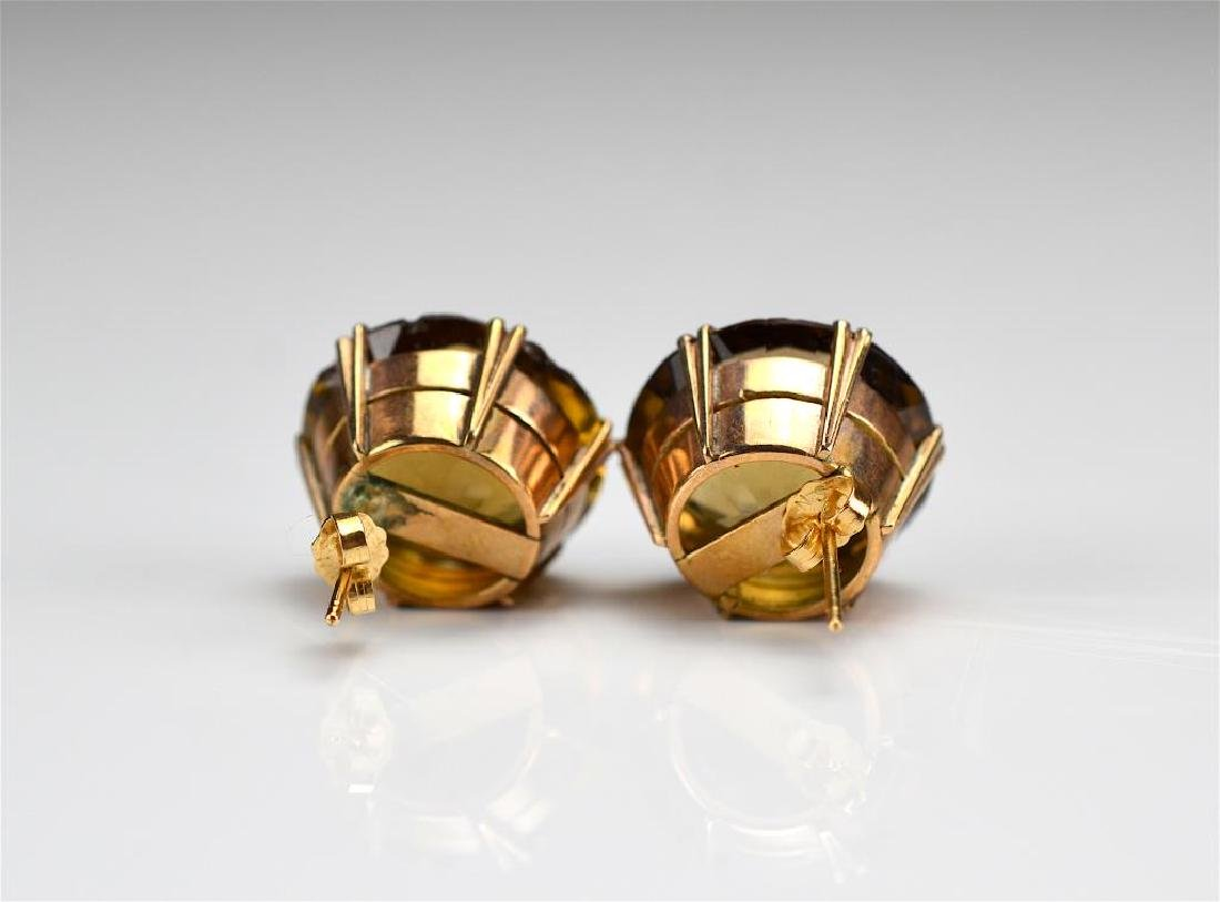 Pair of vintage gold and quartz earrings - 3