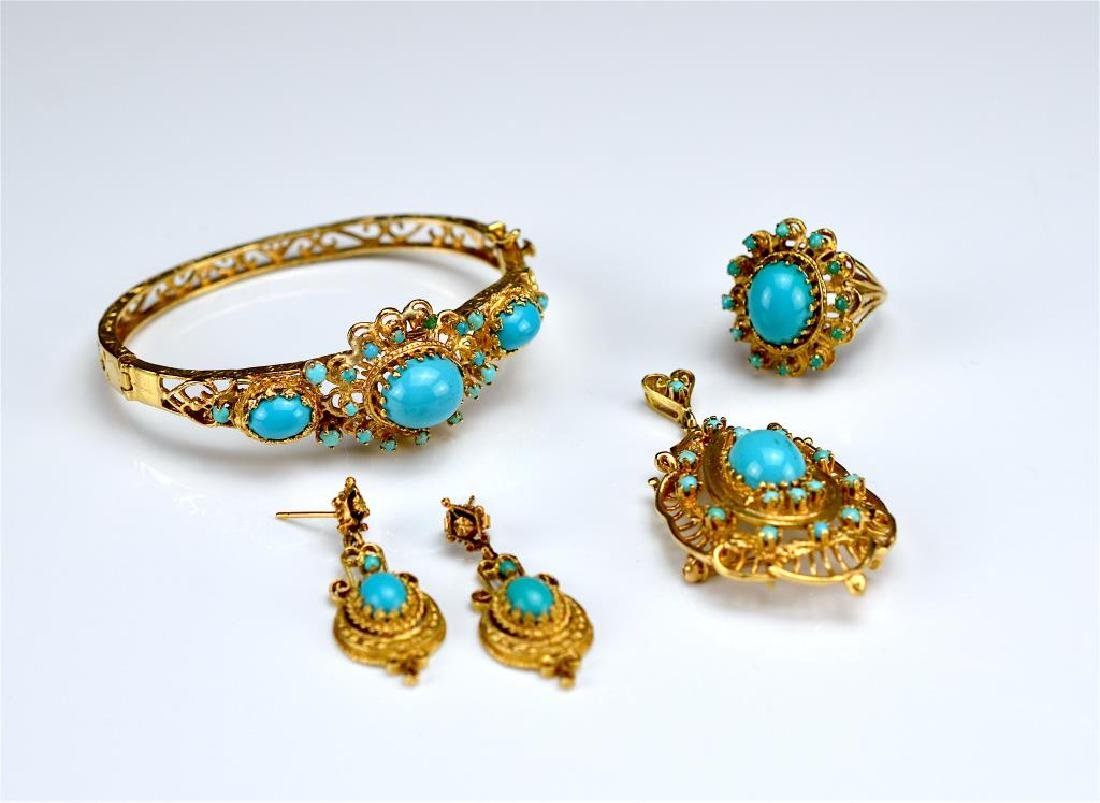Yellow gold and turquoise suite - 2