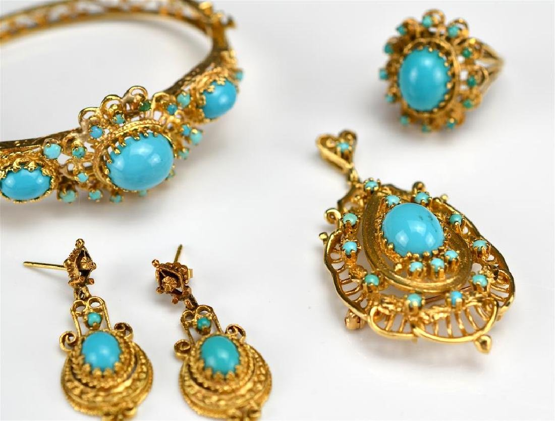 Yellow gold and turquoise suite - 3