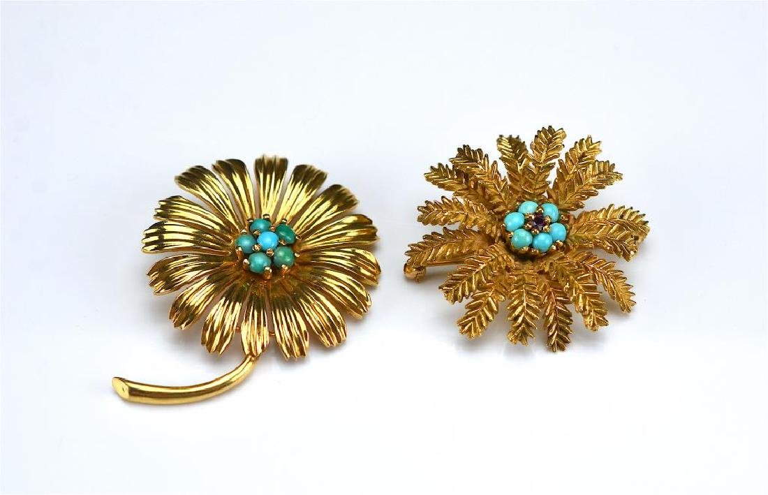 Two vintage gold and turquoise brooches
