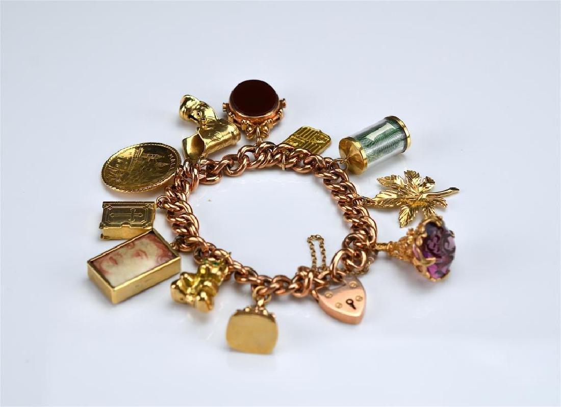 Antique English gold charm bracelet