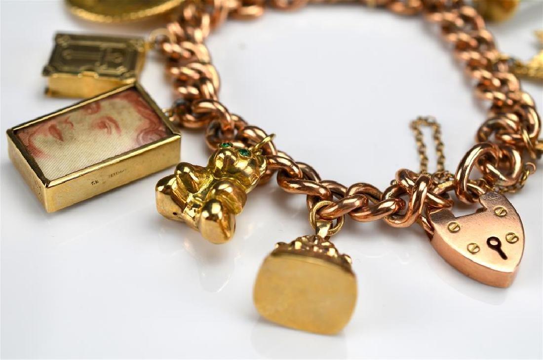 Antique English gold charm bracelet - 2