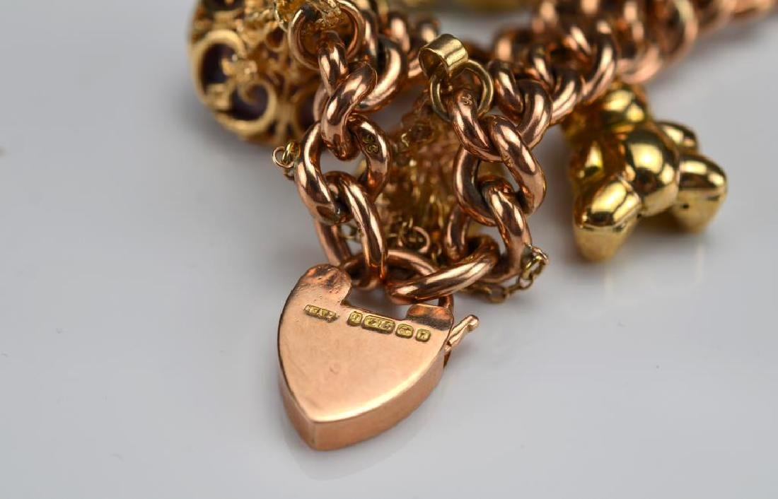 Antique English gold charm bracelet - 3