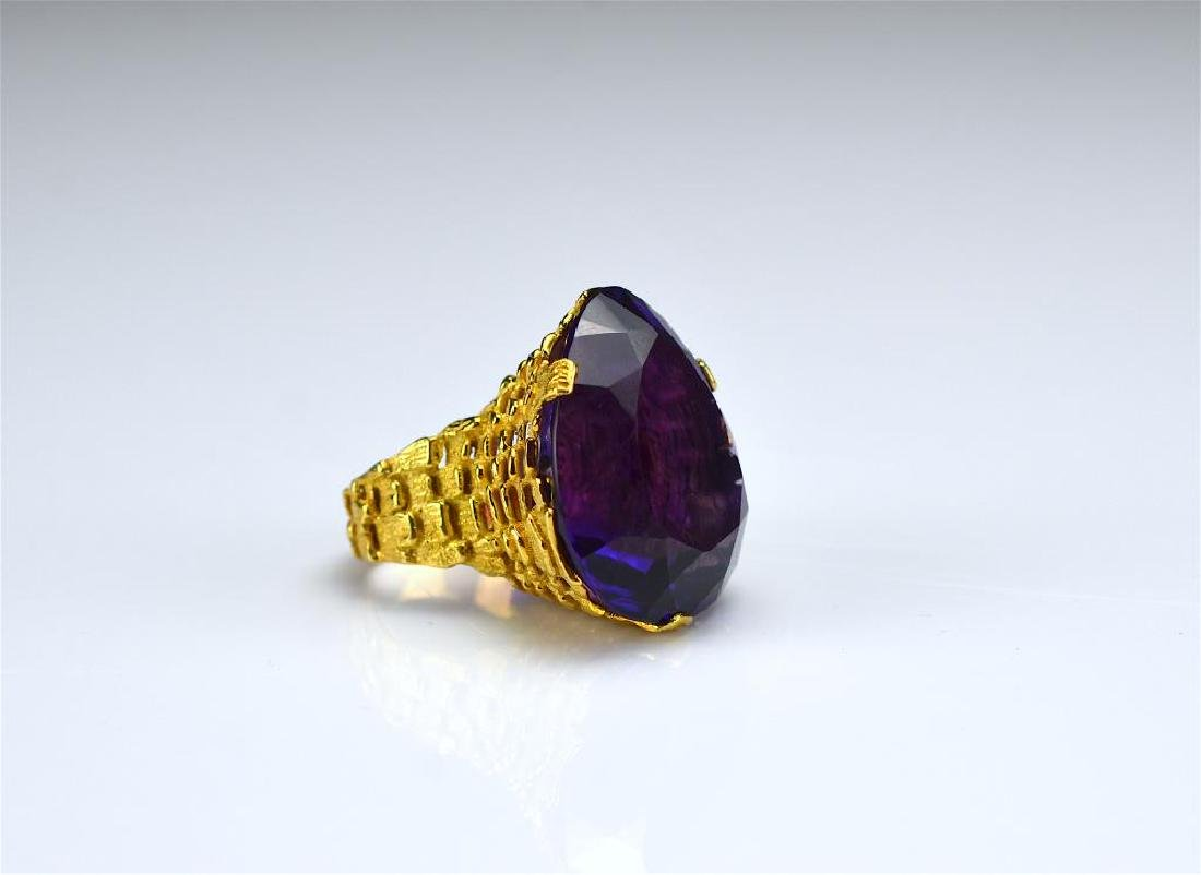 Vintage gold and amethyst cocktail ring
