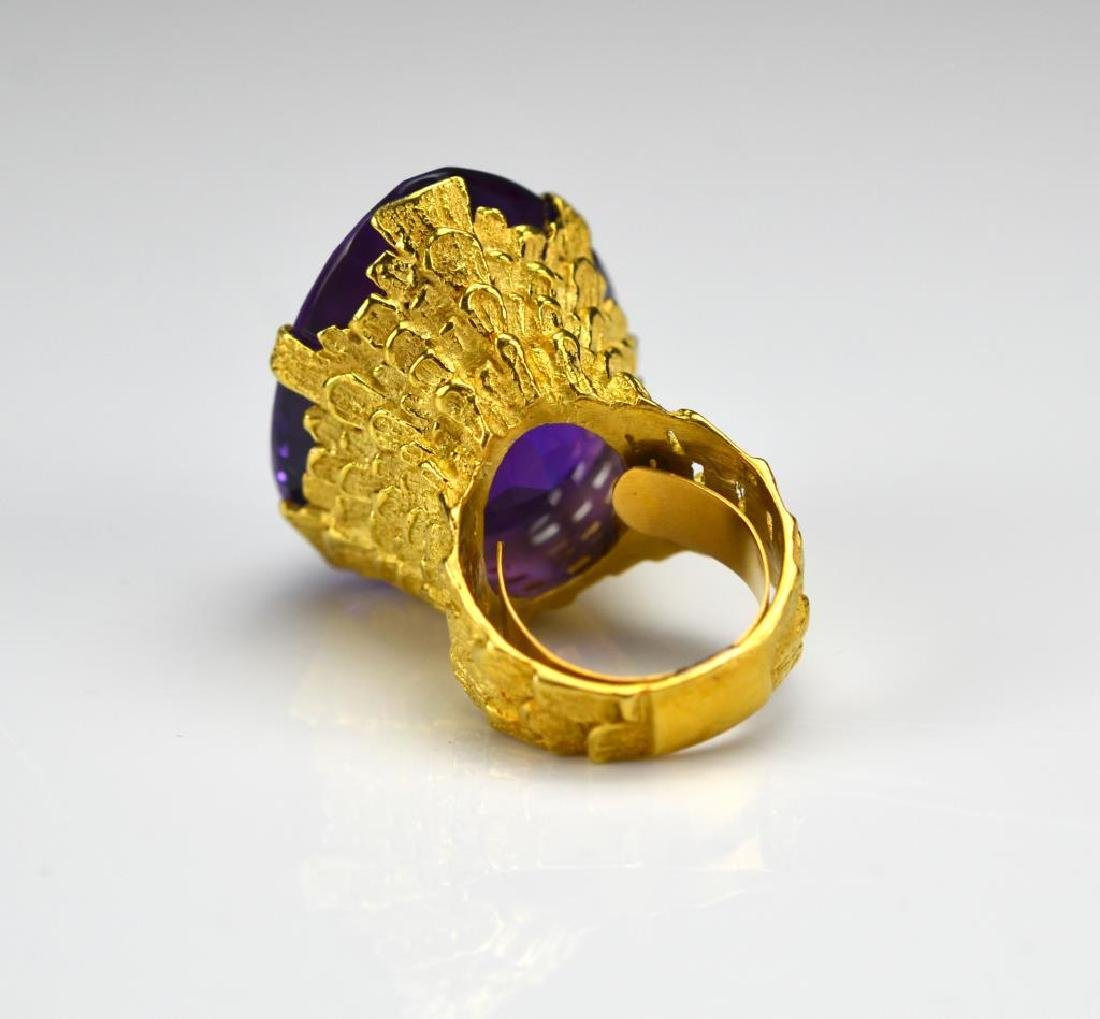 Vintage gold and amethyst cocktail ring - 2