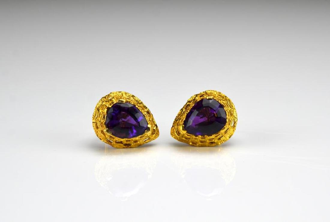 Pair of gold and amethyst earrings