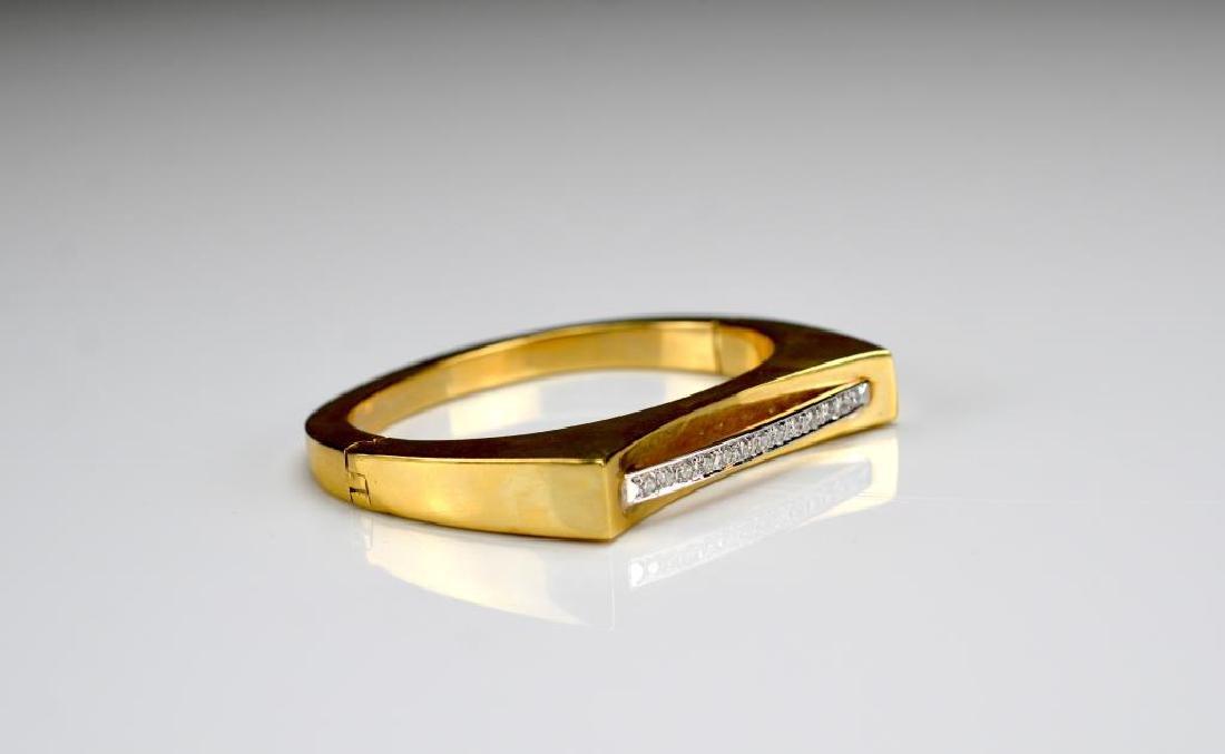 Vintage Italian gold and diamond cuff bracelet