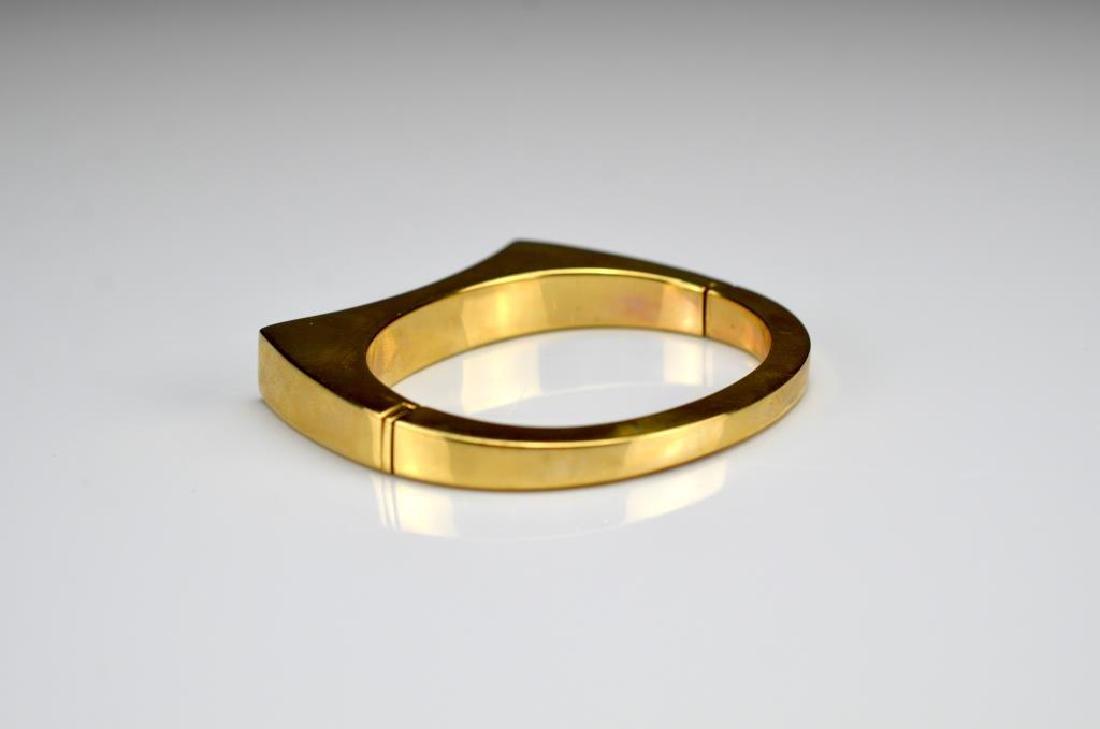 Vintage Italian gold and diamond cuff bracelet - 3