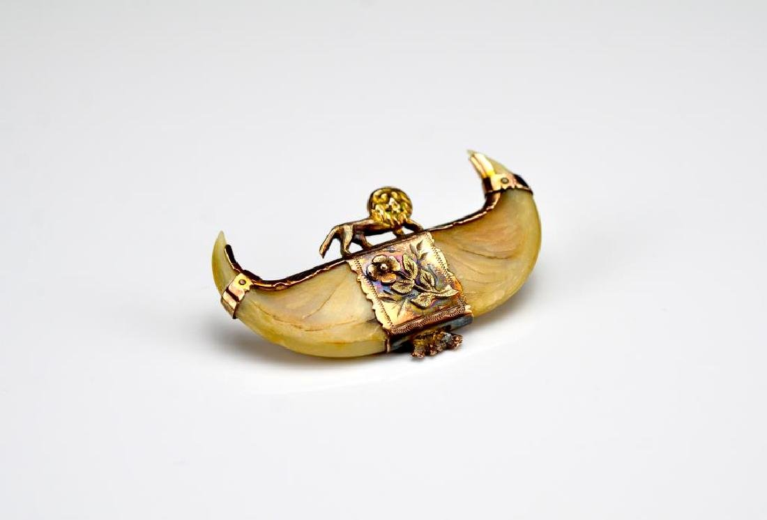 Antique gold and natural brooch pin