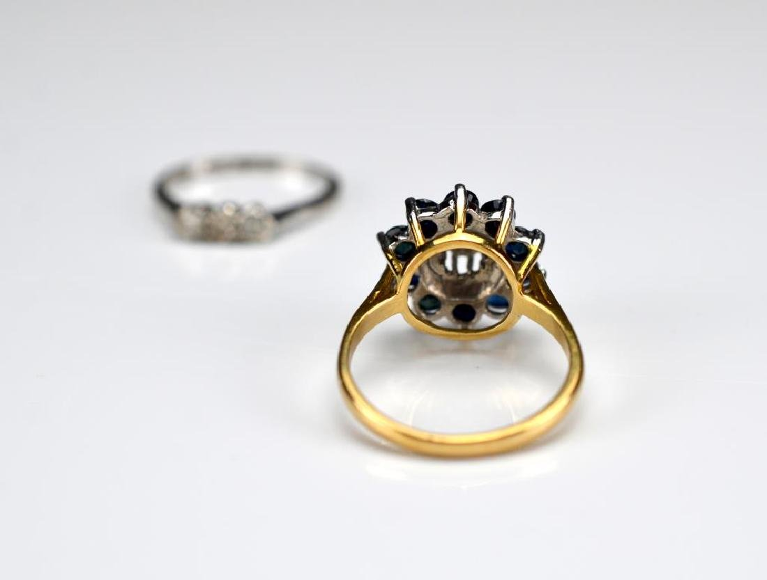Two gold rings set with diamonds and sapphires - 2