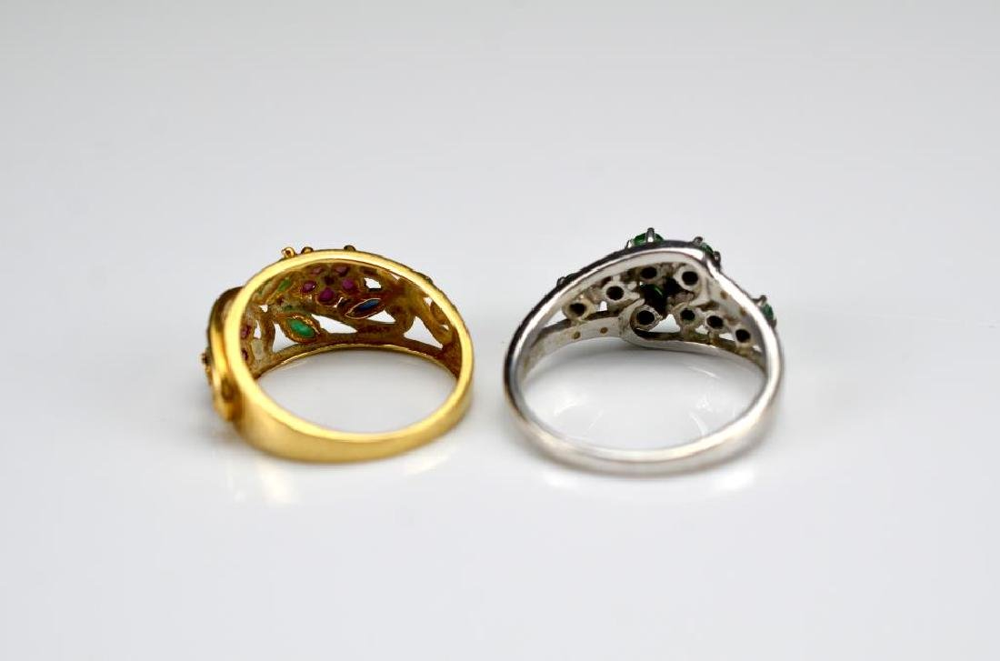 Two gold rings with mixed stones - 2