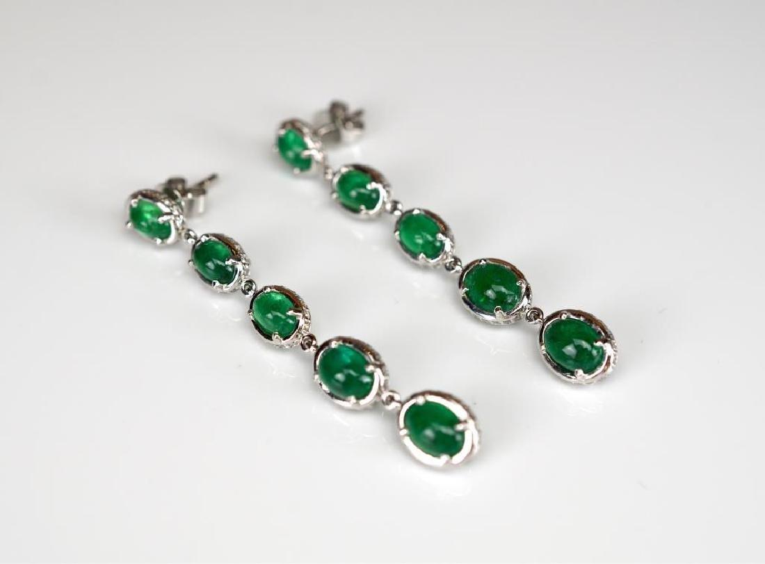 Pair of emerald and diamond drop earrings