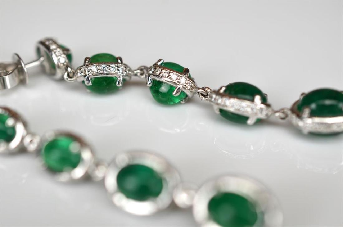 Pair of emerald and diamond drop earrings - 2