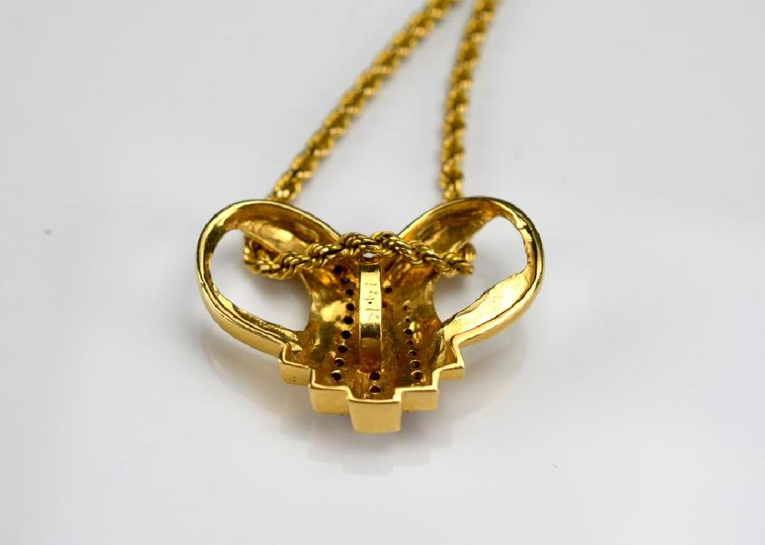 Gold pendant with diamonds & sapphires &gold chain - 2