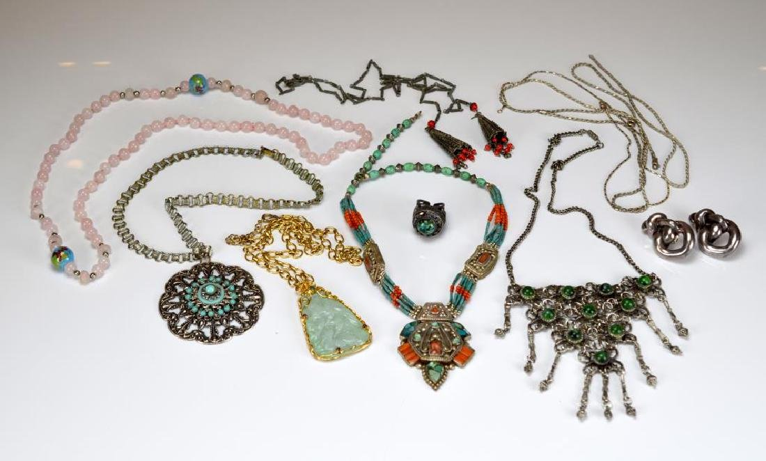 Lot of assorted beaded and silver jewellery