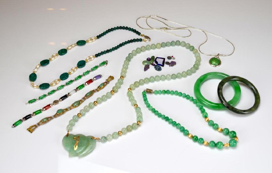 Group of nephrite, hardstone, and glass jewellery