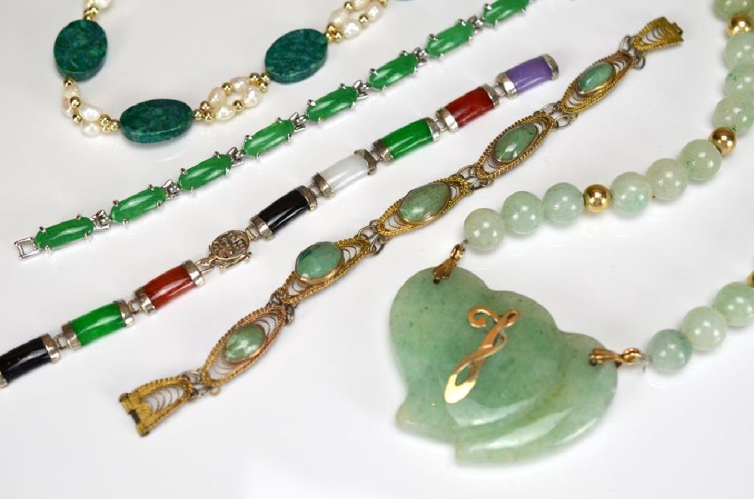 Group of nephrite, hardstone, and glass jewellery - 2