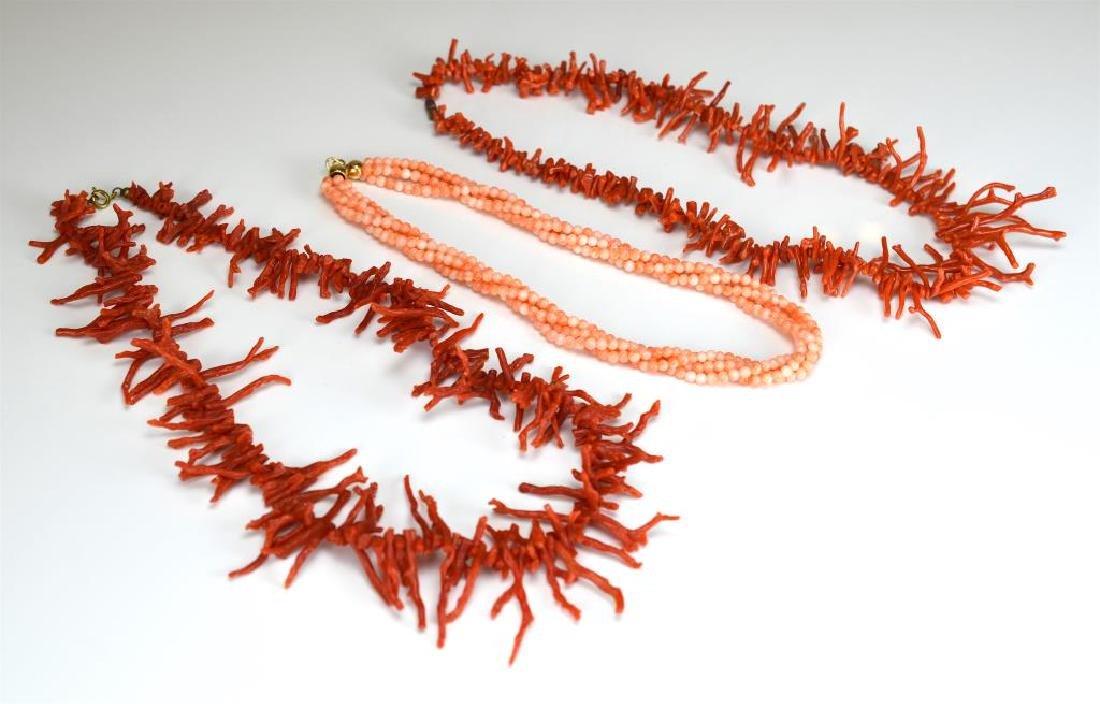 Three coral necklaces
