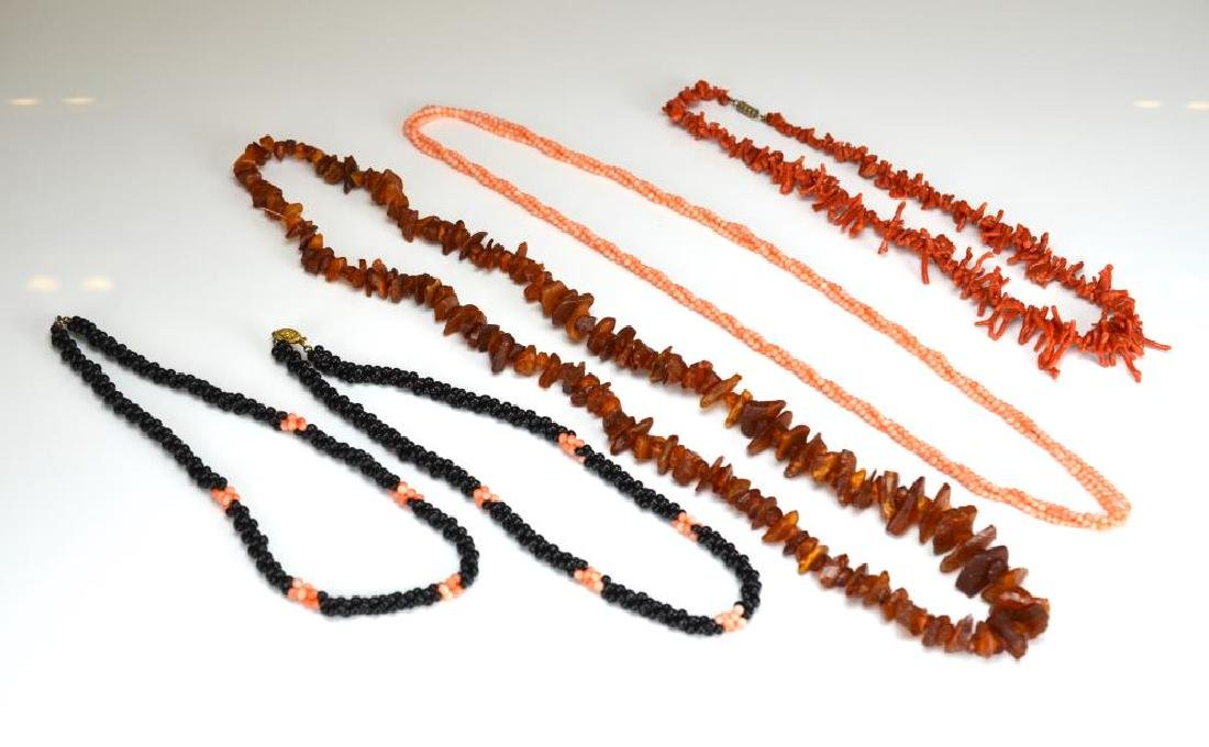 Five natural bead necklaces