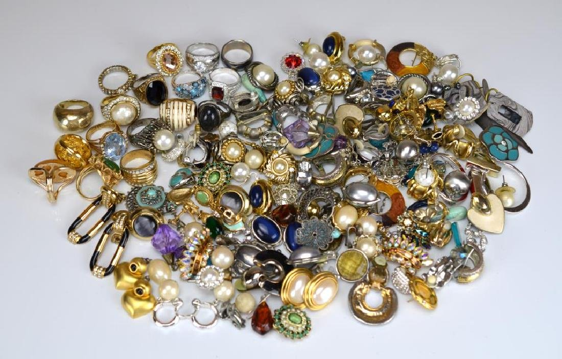 Large lot of costume rings and earrings