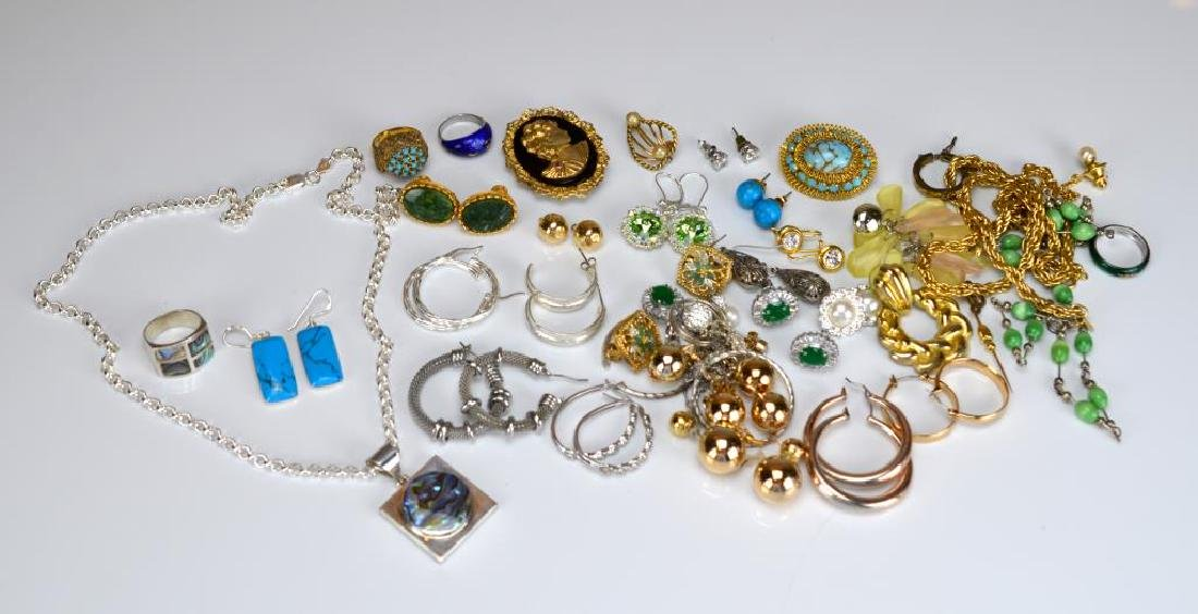 Large lot of costume and silver jewellery