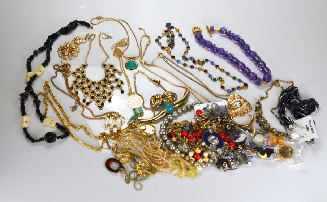 Large lot of beaded & rhinestone costume jewellery