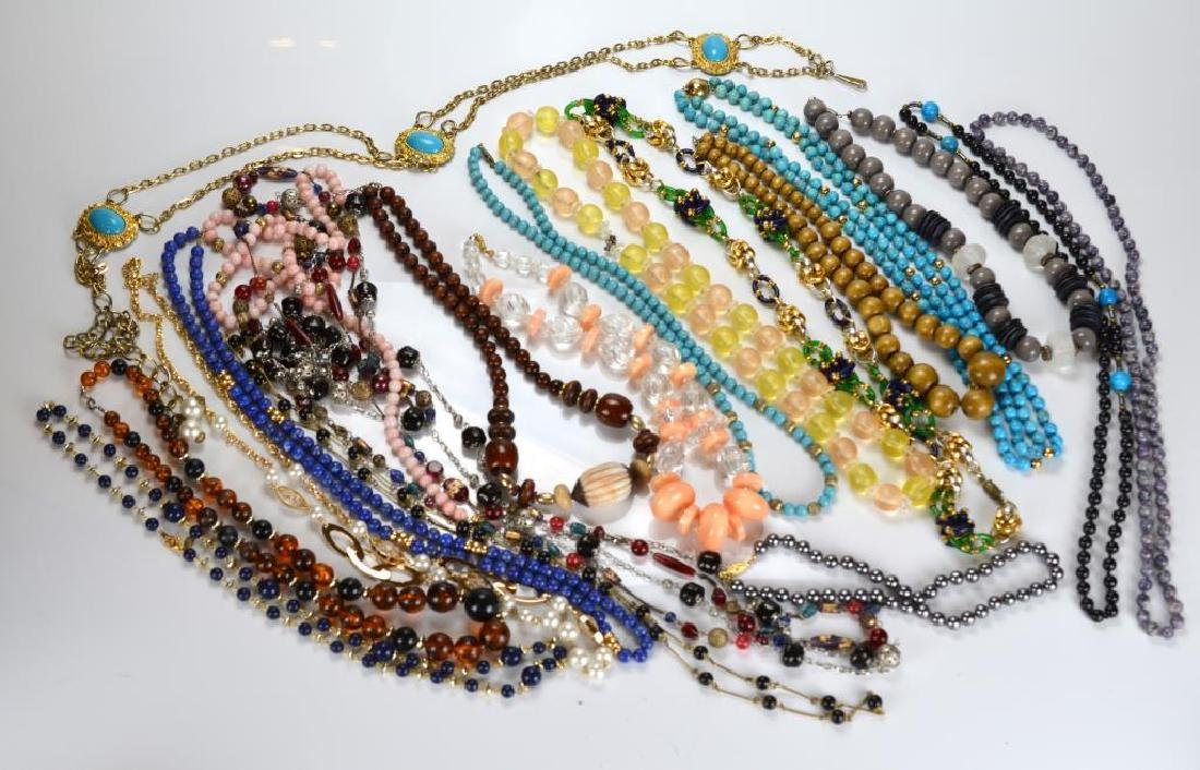 Large lot of beaded and metal necklaces