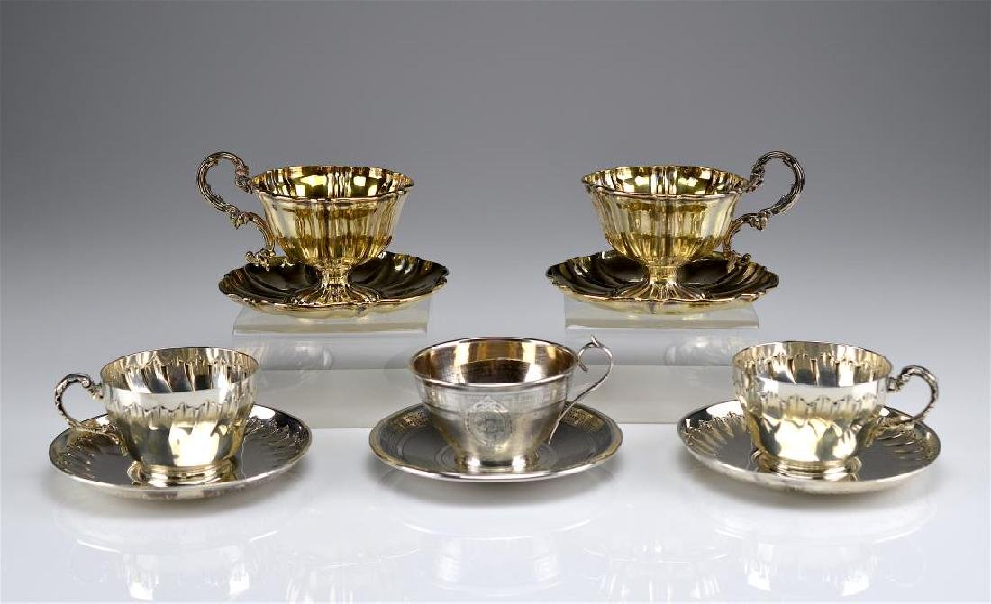 Five French 19th C silver cups & saucers