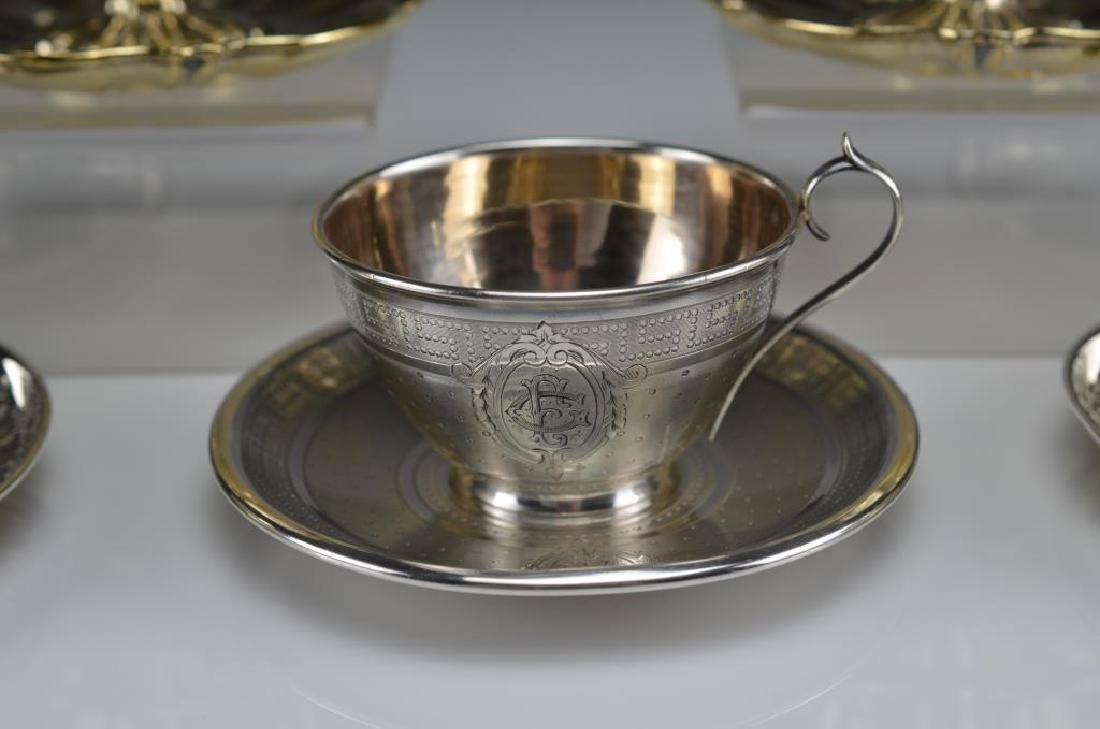 Five French 19th C silver cups & saucers - 2