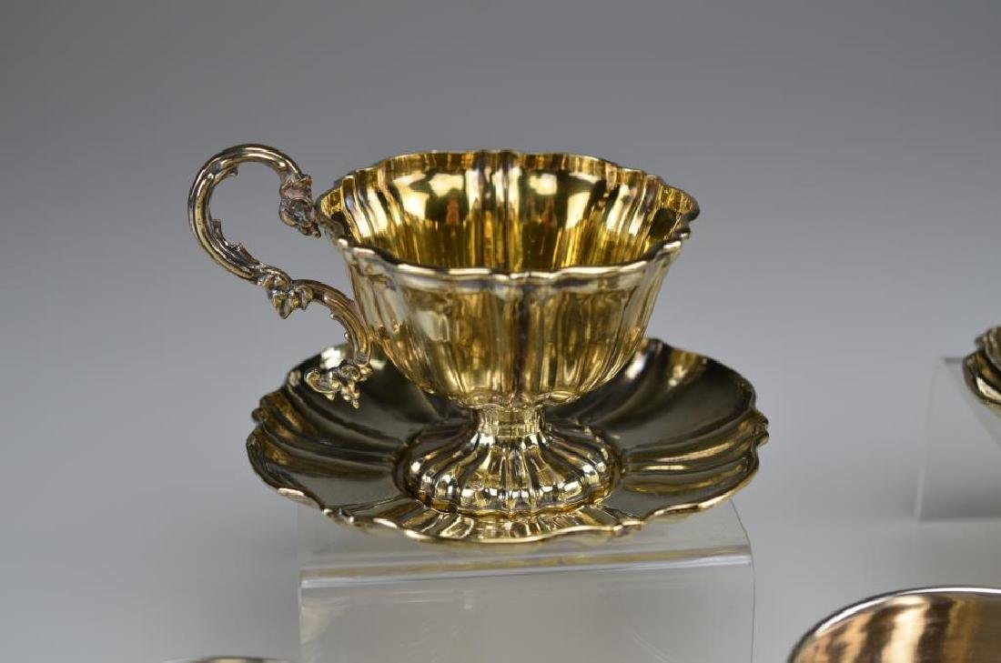Five French 19th C silver cups & saucers - 6
