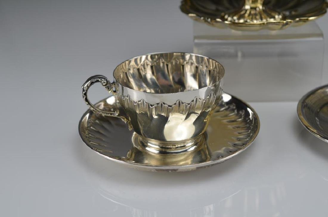 Five French 19th C silver cups & saucers - 7