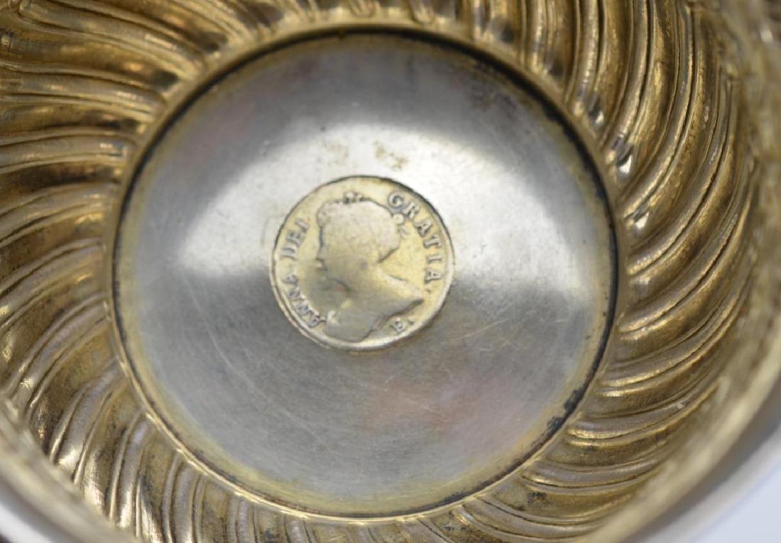 Victorian silver sugar bowl w/ coin insert - 3