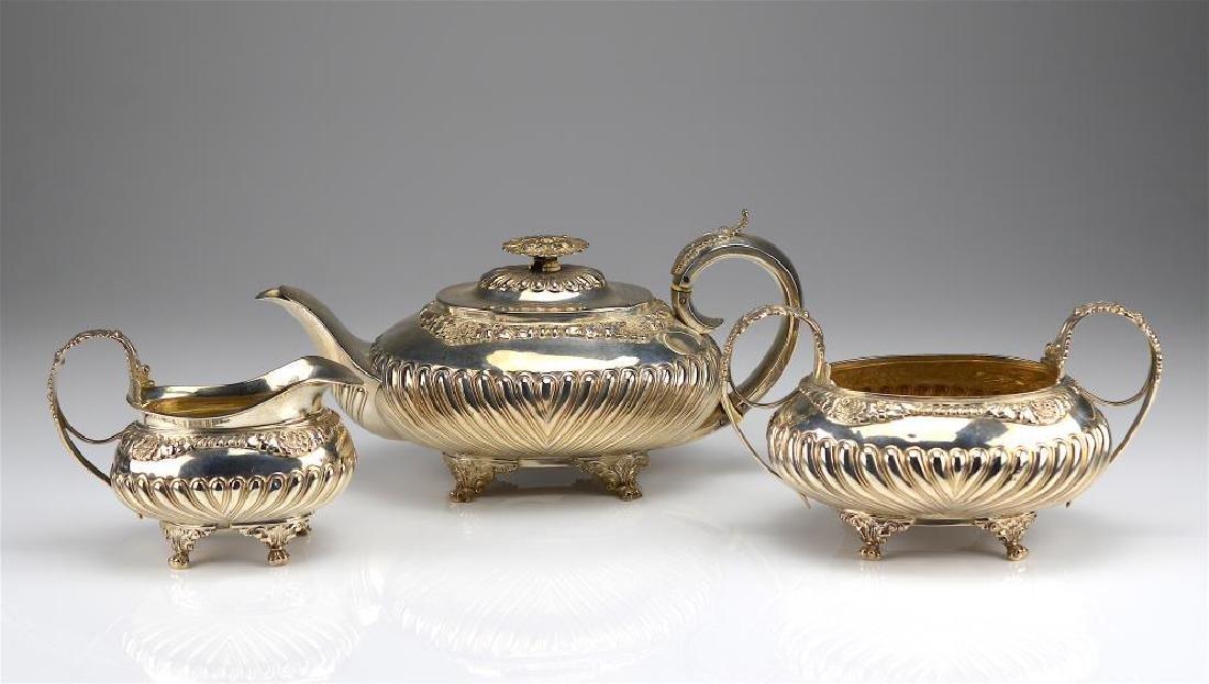 George III English silver tea set