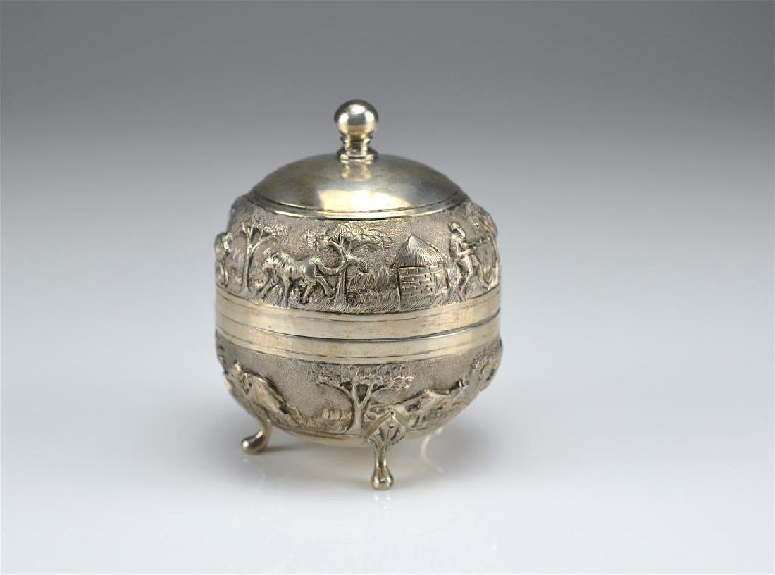 Indian colonial silver covered box