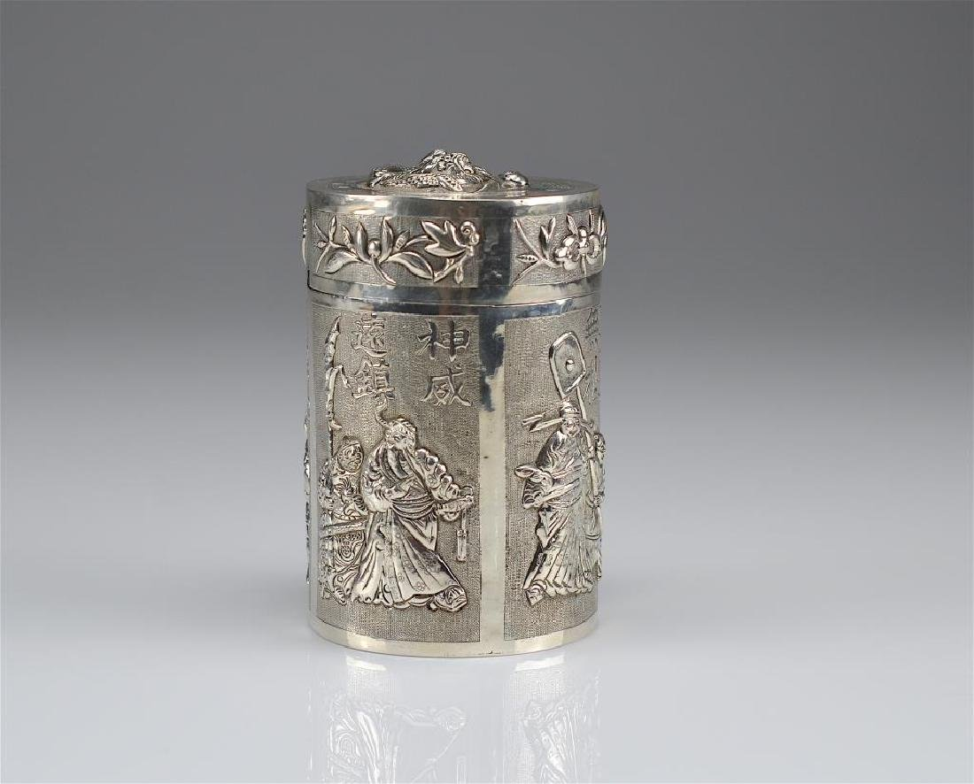 Chinese export silver tea caddy - 5