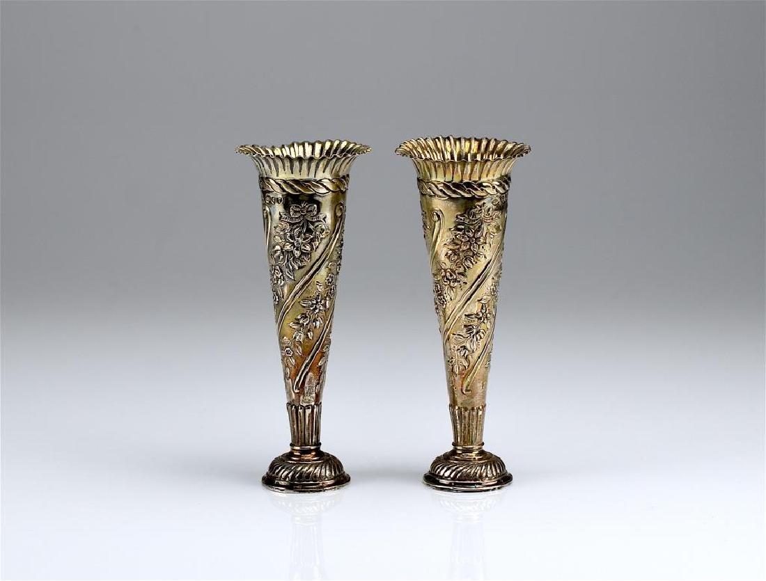 Pair of Wiliiam Comyns English silver bud vases