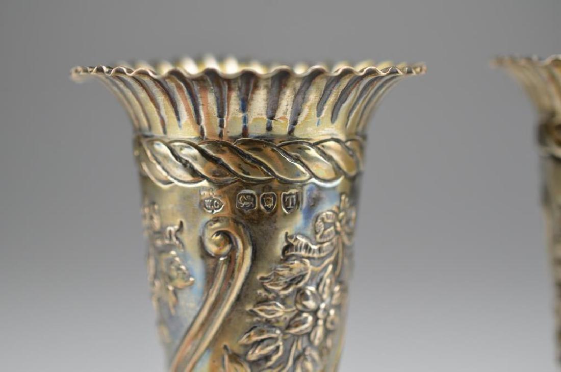 Pair of Wiliiam Comyns English silver bud vases - 2