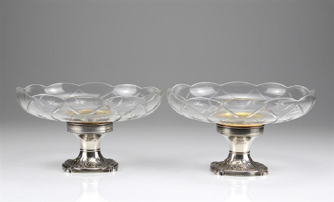 Pair of French silver and cut glass comports