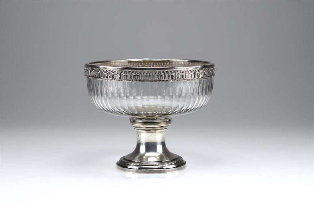French silver and cut glass centre bowl
