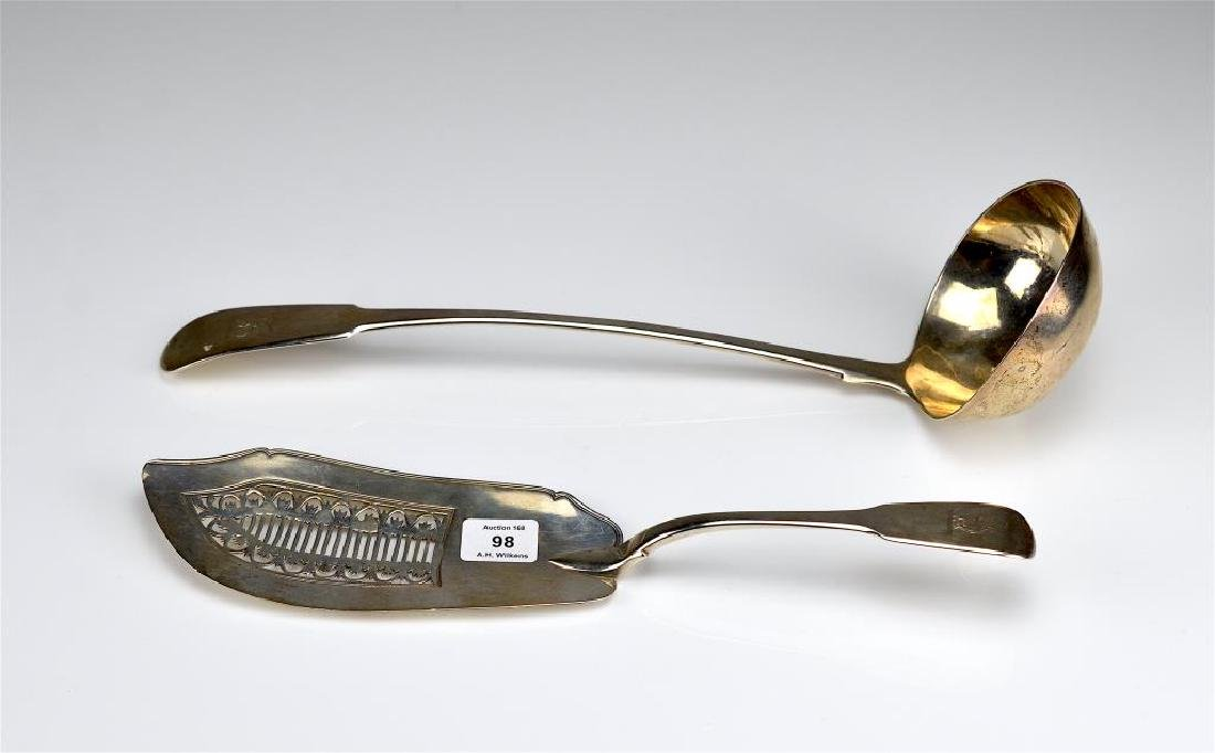 Georgian silver ladle and fish slice