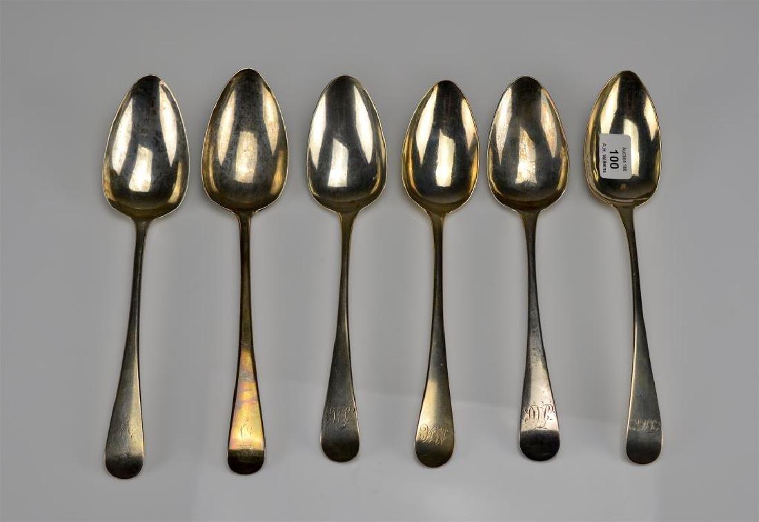 Six Georgian table spoons