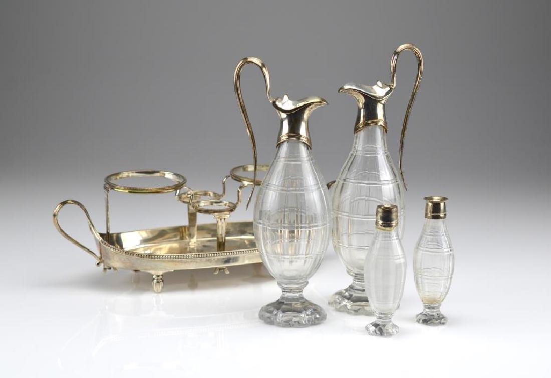 George III silver cruet stand with glass bottles - 2